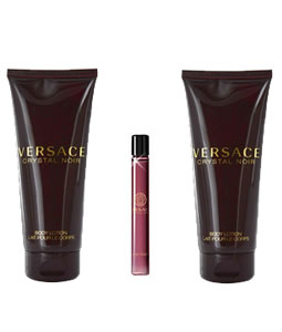 VERSACE CRYSTAL NOIR EDP MINIATURE 3 PIECES TRAVEL GIFT SET FOR WOMEN