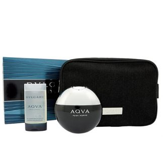 BVLGARI AQVA POUR HOMME WITH POUCH 3 PCS GIFT SET FOR MEN
