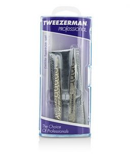 TWEEZERMAN PROFESSIONAL PETITE TWEEZE SET: SLANT TWEEZER + POINT TWEEZER - (REGENCY FINISH W/ SILVER LEATHER CASE) 2PCS
