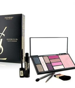 YVES SAINT LAURENT DEVOTED TO YSL (PARISIENNE PALETTE): (5X POWDER EYE SHADOW, 1X POWDER BLUSHER, 4X SOLID LIPCOLOUR, 1X MINI MASCARA, 3X MINI APPLICATOR, 1X POUCH) -