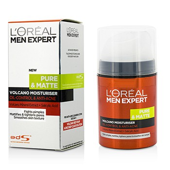 L'OREAL MEN EXPERT PURE & MATTE VOLCANO MOISTURISER - OIL-CONTROL & ANTI-ACNE 50ML/1.7OZ