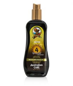 AUSTRALIAN GOLD SPRAY GEL SUNSCREEN BROAD SPECTRUM SPF 4 WITH INSTANT BRONZER 237ML/8OZ