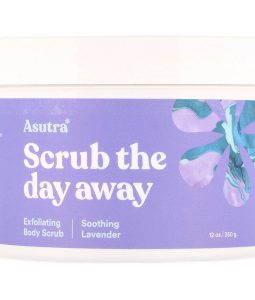 ASUTRA, SCRUB THE DAY AWAY, EXFOLIATING BODY SCRUB, SOOTHING LAVENDER, 12 OZ / 350g
