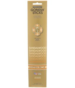 GONESH, EXTRA RICH INCENSE STICKS, SANDALWOOD, 20 STICKS
