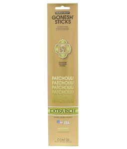 GONESH, EXTRA RICH INCENSE STICKS, PATCHOULI, 20 STICKS