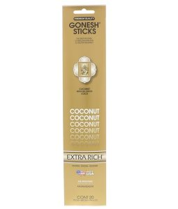 GONESH, EXTRA RICH INCENSE STICKS, COCONUT, 20 STICKS