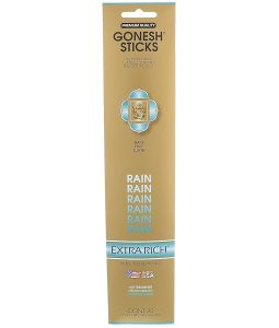 GONESH, EXTRA RICH INCENSE STICKS, RAIN, 20 STICKS