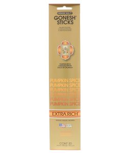 GONESH, EXTRA RICH INCENSE STICKS, PUMPKIN SPICE, 20 STICKS