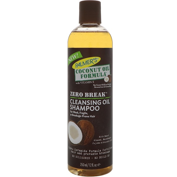 PALMER'S, COCONUT OIL FORMULA, ZERO BREAK, CLEANSING OIL SHAMPOO, FOR WEAK, FRAGILE, OR BREAKAGE-PRONE HAIR, 12 FL OZ / 350ml