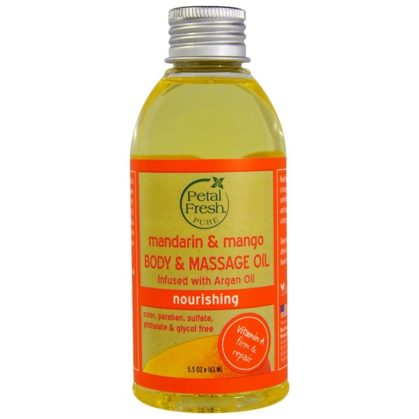 PETAL FRESH, PURE, BODY & MASSAGE OIL, NOURISHING, MANDARIN & MANGO, 5.5 OZ / 163ml