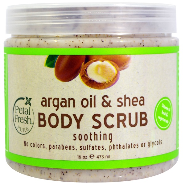 PETAL FRESH, PURE, ARGAN OIL & SHEA BODY SCRUB, 16 OZ / 473ml