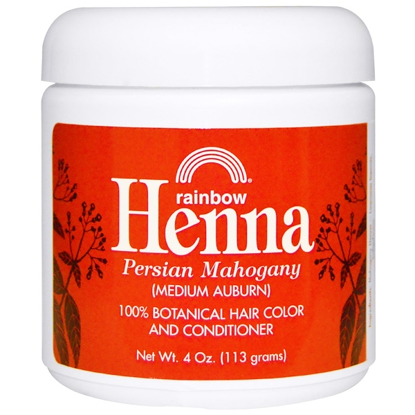 RAINBOW RESEARCH, HENNA, HAIR COLOR AND CONDITIONER, MAHOGANY (MEDIUM AUBURN), 4 OZ / 113g
