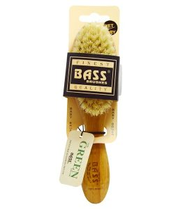BASS BRUSHES, BABY BRUSH SOFT BRISTLE, 100% NATURAL BRISTLE 100% BAMBOO WITH WOOD HANDLE, 1 HAIR BRUSH