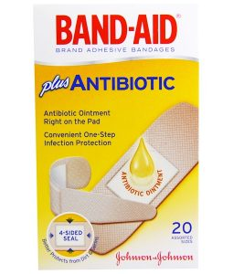BAND AID, ADHESIVE BANDAGES, PLUS ANTIBIOTIC, 20 ASSORTED SIZES