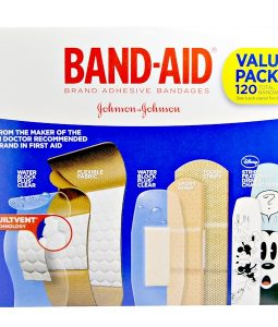 BAND AID, ADHESIVE STRIPS, BANDAGES, VALUE PACK, 5 CARTONS, 120 BANDAGES