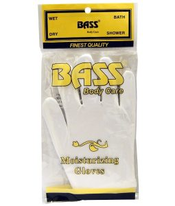 BASS BRUSHES, MOISTURIZING GLOVES, WHITE, 1 PAIR