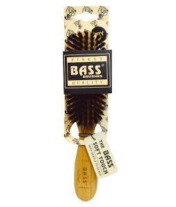 BASS BRUSHES, SEMI OVAL (SOFT) 100% WILD BOAR BRISTLES, WOOD HANDLE FOR FINE HAIR, 1 HAIR BRUSH