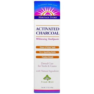 HERITAGE STORE, ACTIVATED CHARCOAL WHITENING TOOTHPASTE, FRESH MINT, 5.1 OZ / 145g