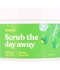 ASUTRA, SCRUB THE DAY AWAY, EXFOLIATING BODY SCRUB, COOLING CUCUMBER, 12 OZ / 350g
