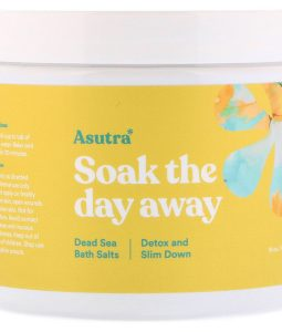 ASUTRA, SOAK THE DAY AWAY, DEAD SEA BATH SALTS, DETOX AND SLIM DOWN, 16 OZ / 453g