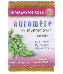 AUROMERE, AYURVEDIC SOAP, WITH NEEM, HIMALAYAN ROSE, 2.75 OZ / 78g