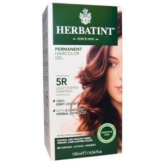 HERBATINT, PERMANENT HAIRCOLOR GEL, 5R LIGHT COPPER CHESTNUT, 4.56 FL OZ / 135ml