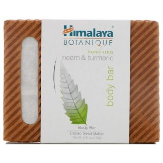 HIMALAYA, BOTANIQUE, PURIFYING NEEM & TURMERIC BODY BAR, 4.41 OZ / 125g