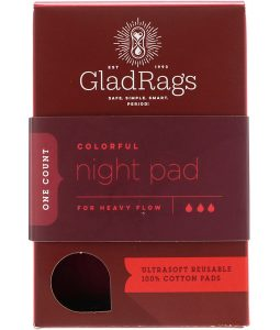 GLADRAGS, COLORFUL NIGHT PAD, REUSABLE, FOR HEAVY FLOW, 1 PACK