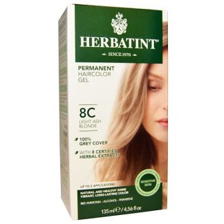 HERBATINT, PERMANENT HAIRCOLOR GEL, 8C, LIGHT ASH BLONDE, 4.56 FL OZ / 135ml
