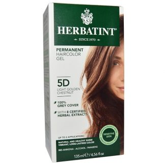 HERBATINT, PERMANENT HAIRCOLOR GEL, 5D, LIGHT GOLDEN CHESTNUT, 4.56 FL OZ / 135ml