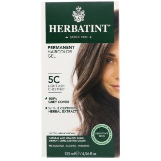 HERBATINT, PERMANENT HERBAL HAIRCOLOR GEL, 5C, LIGHT ASH CHESTNUT, 4.56 FL OZ / 135ml