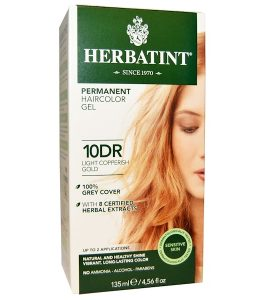 HERBATINT, PERMANENT HAIRCOLOR GEL, 10DR, LIGHT COPPERISH GOLD, 4.56 FL OZ / 135ml