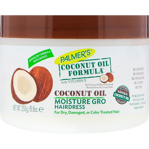 PALMER'S, COCONUT OIL FORMULA, WITH VITAMIN E, MOISTURE GRO HAIRDRESS, 8.8 OZ / 250g