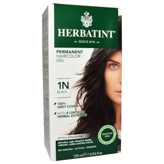 HERBATINT, PERMANENT HAIRCOLOR GEL, 1N, BLACK, 4.56 FL OZ / 135ml
