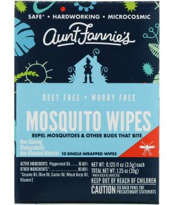 AUNT FANNIE'S, MOSQUITO WIPES, 10 SINGLE WRAPPED WIPES, 0.125 FL OZ / 3.5g EACH
