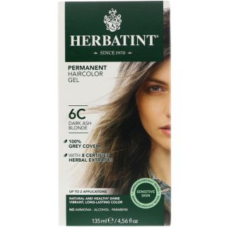 HERBATINT, PERMANENT HAIRCOLOR GEL, 6C, DARK ASH BLONDE, 4.56 FL OZ / 135ml
