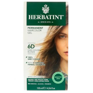 HERBATINT, PERMANENT HAIRCOLOR GEL, 6D, DARK GOLDEN BLONDE, 4.56 FL OZ / 135ml