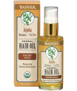 BADGER COMPANY, JOJOBA HERBAL HAIR OIL, ROSEMARY & TEA TREE, 2 FL OZ / 59.1ml