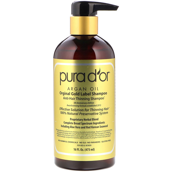 PURA D'OR, ANTI-HAIR THINNING SHAMPOO, 16 FL OZ / 473ml