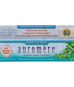AUROMERE, AYURVEDIC HERBAL TOOTHPASTE, FOAM-FREE, MINT, 4.16 OZ / 117g