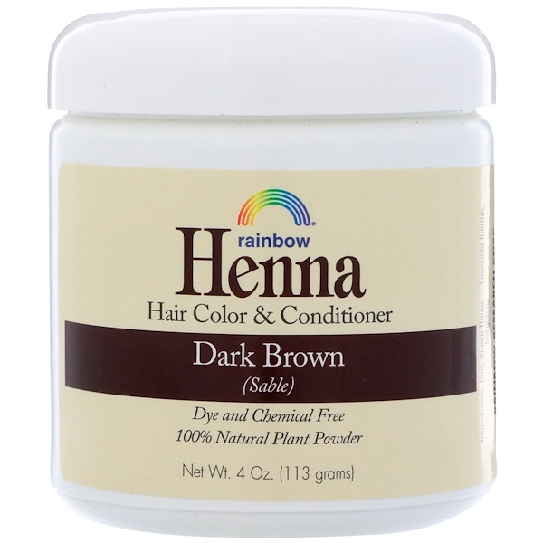 RAINBOW RESEARCH, HENNA, HAIR COLOR & CONDITIONER, DARK BROWN (SABLE), 4 OZ / 113g