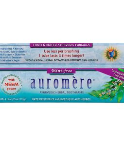 AUROMERE, AYURVEDIC HERBAL TOOTHPASTE, MINT-FREE, 4.16 OZ / 117g