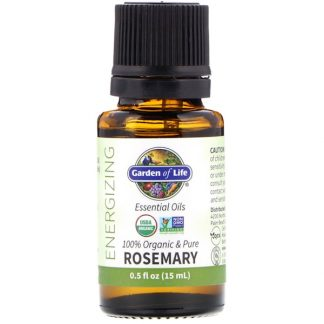 GARDEN OF LIFE, 100% ORGANIC & PURE, ESSENTIAL OILS, ENERGIZING, ROSEMARY, 0.5 FL OZ / 15ml