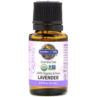GARDEN OF LIFE, 100% ORGANIC & PURE, ESSENTIAL OILS, CALMING, LAVENDER, 0.5 FL OZ / 15ml