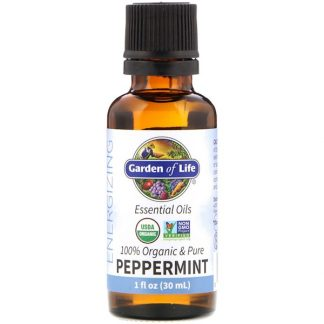 GARDEN OF LIFE, 100% ORGANIC & PURE, ESSENTIAL OILS, ENERGIZING, PEPPERMINT, 1 FL OZ / 30ml
