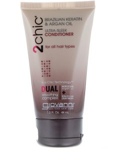 GIOVANNI, 2CHIC, ULTRA-SLEEK CONDITIONER, FOR ALL HAIR TYPES, BRAZILIAN KERATIN & ARGAN OIL, 1.5 FL OZ / 44ml