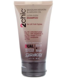 GIOVANNI, 2CHIC, ULTRA-SLEEK SHAMPOO, FOR ALL HAIR TYPES, BRAZILIAN KERATIN & ARGAN OIL, 1.5 FL OZ / 44ml