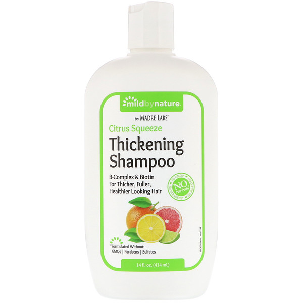 MILD BY NATURE, THICKENING B-COMPLEX + BIOTIN SHAMPOO BY MADRE LABS, NO SULFATES, CITRUS SQUEEZE, 14 FL OZ / 414ml