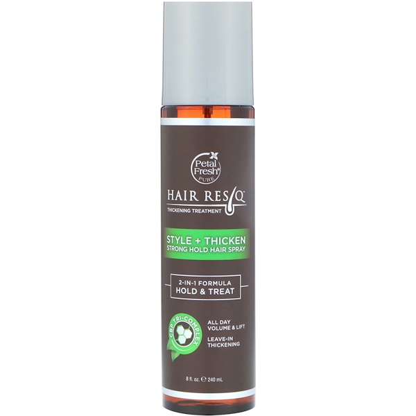 PETAL FRESH, HAIR RESQ, THICKENING TREATMENT, STYLE + THICKEN, STRONG HOLD HAIR SPRAY, 8 FL OZ / 240ml