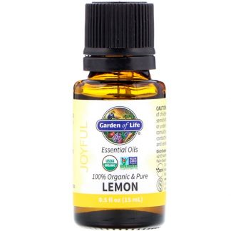 GARDEN OF LIFE, 100% ORGANIC & PURE, ESSENTIAL OILS, JOYFUL, LEMON, 0.5 FL OZ / 15ml